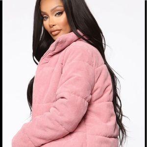 MI AMI Loose Corduroy Padded Pink Jacket